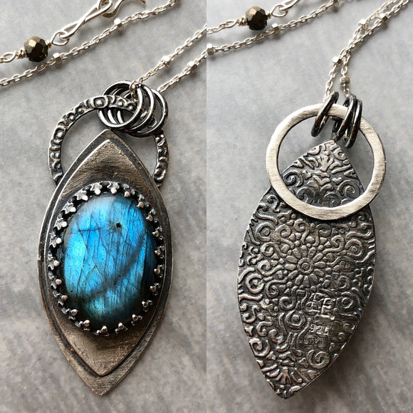 Labradorite Leaf-Shaped Pendant with Patterned Back