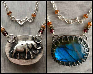 Labradorite Pendant with Elephant on the Back