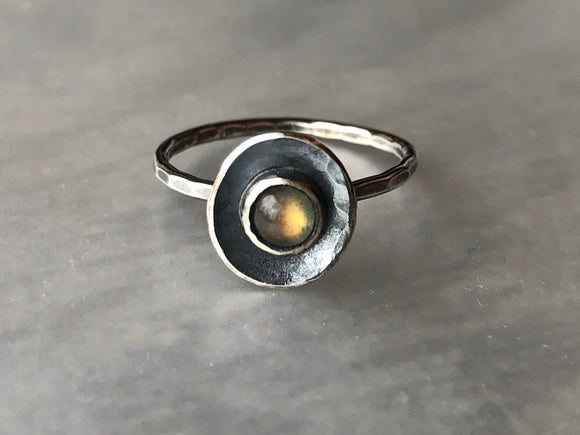 Golden Labradorite and Recycled Silver Ring