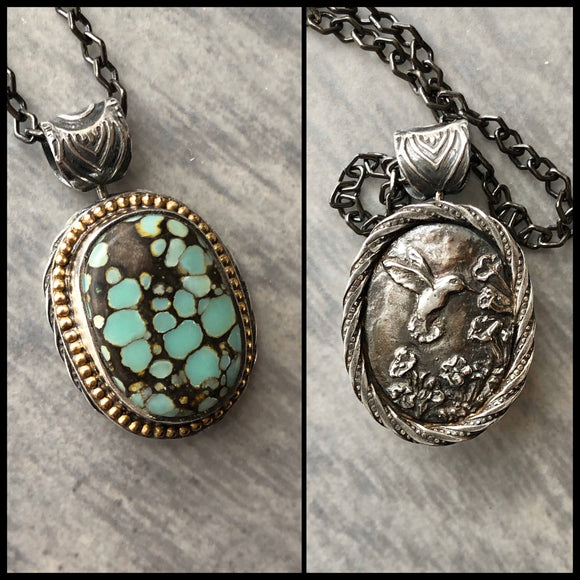Poseidon Variscite and Hummingbird Spinner Pendant with 14k Gold Accents