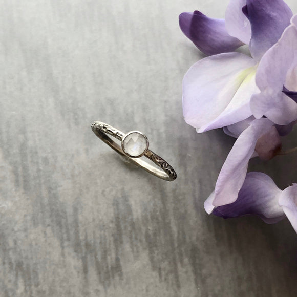Rose-Cut Faceted Moonstone Stacking Ring with Narrow Textured Band