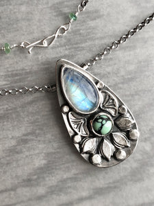 Rainbow Moonstone and New Lander Lotus Pendant with Hidden Butterfly