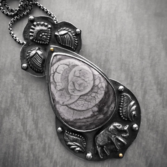 Imperial Jasper and Elephant Pendant with a Mandala on the Back