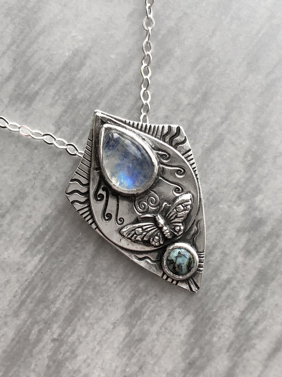 Moonstone and New Lander Pendant with Butterfly