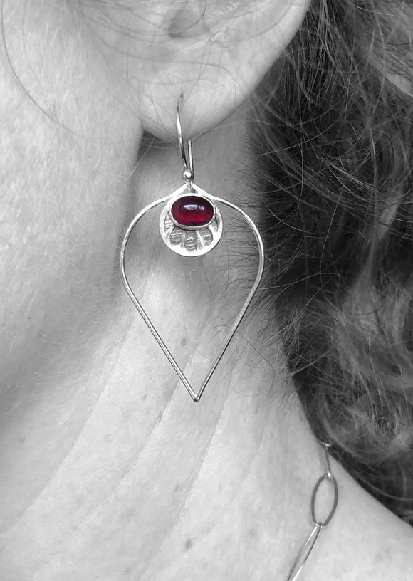 Garnet Lotus Petal Earrings