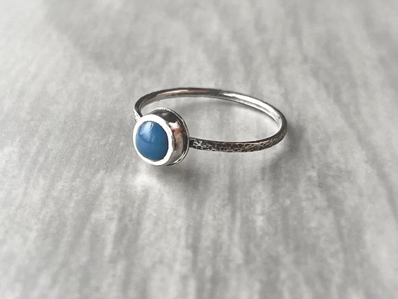 Blue Peruvian Opal Stacking Ring with Narrow Textured Band