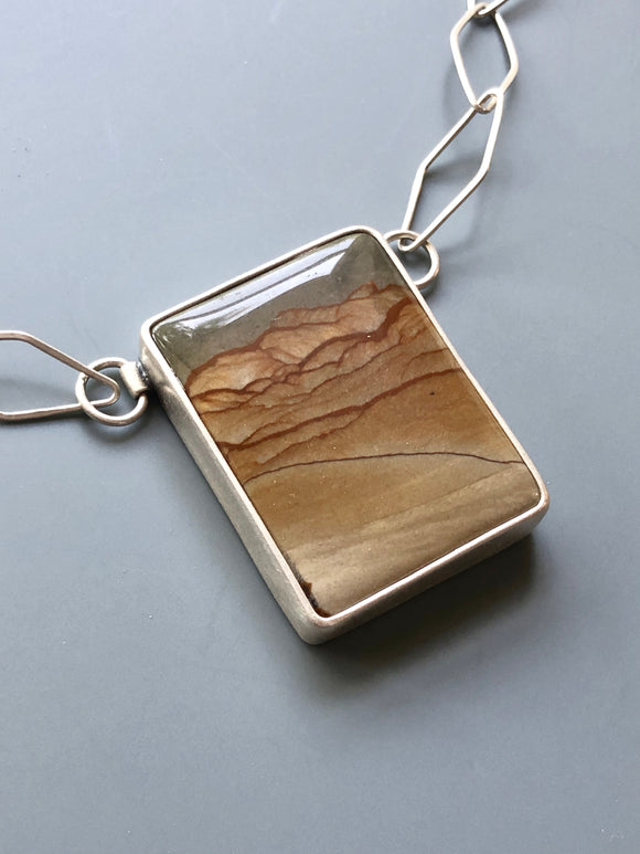 Rectangular Landscape Jasper Necklace