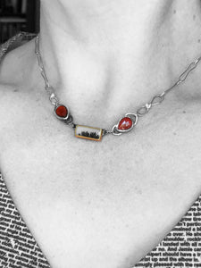 Dendritic Agate Choker Necklace with Garnet and White Topaz, Silver and 18k Gold