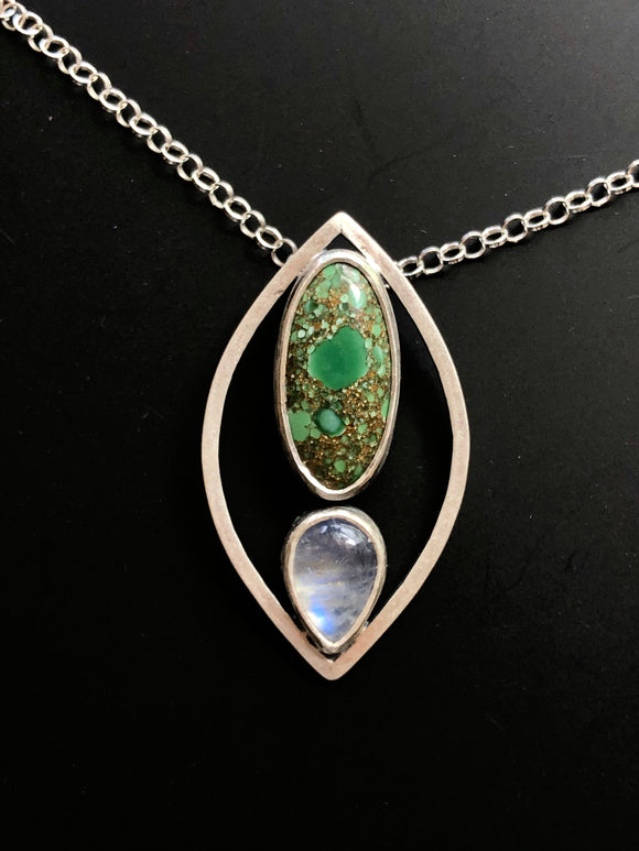 Lotus Petal Necklace with Turquoise and Moonstone