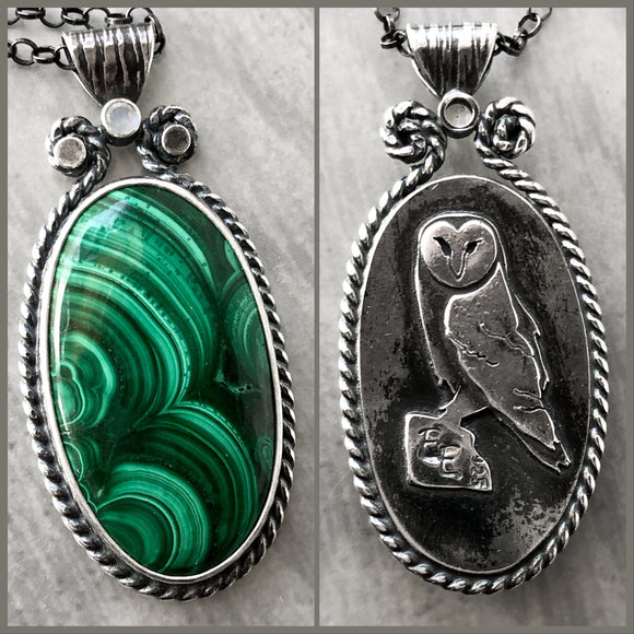Malachite Pendant with Hidden Hand-Sawn Owl and Moonstone