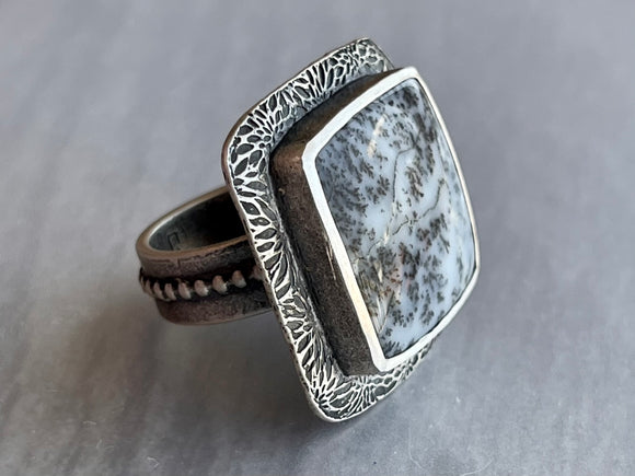 Square Dendritic Opal Ring with Textured Frame and Detailed Reverse