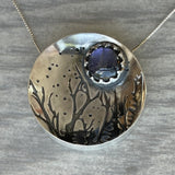 Reserved for Rebecca S. (2 of 3): Purple Labradorite Hollow form Forest Necklace with Maple Leaf Imprint