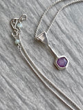 Dainty Hexagonal Purple Sapphire Necklace with Fine Box Chain