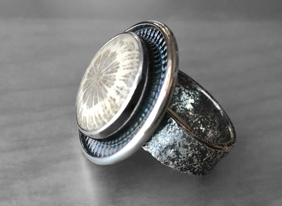 Agatized Coral Ring with Heavy Reticulated Silver Band