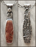 Reticulated Silver Red Creek Jasper Necklace with White Topaz