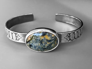 "Pietersite ""Starry Night"" Stamped Cuff"