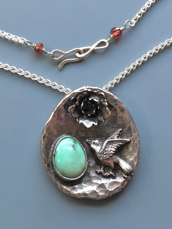 Poseidon Variscite Recycled Silver Necklace with Bird and Cast Succulent Flower