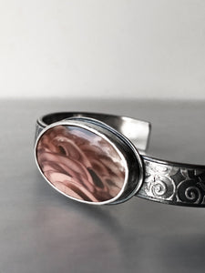 Unique Mauve Imperial Jasper Cuff with Vine-Patterned Band