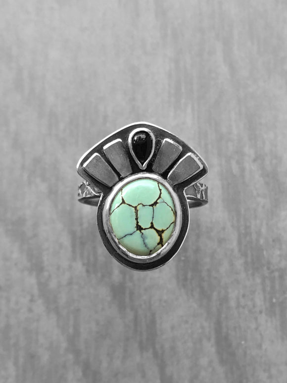 Poseidon Variscite Ring with Black Onyx Crown