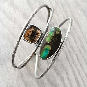Dendritic Agate and Bao Canyon Turquoise Cuff