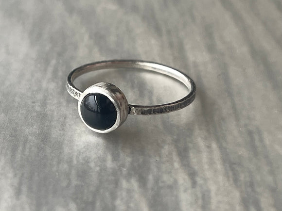 Black Onyx Stacking Ring with Narrow Textured Band
