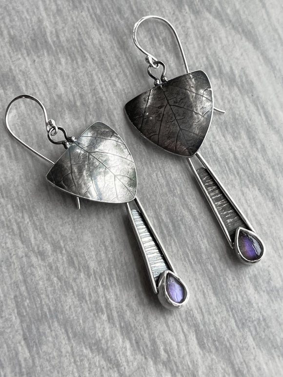 Purple Labradorite Earrings with Leaf Impression