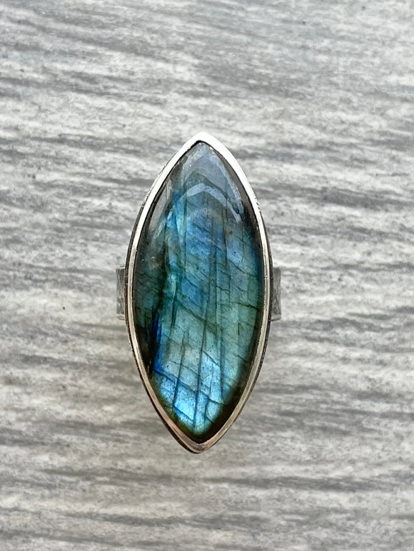 Large Marquise-Shaped Blue Labradorite Ring