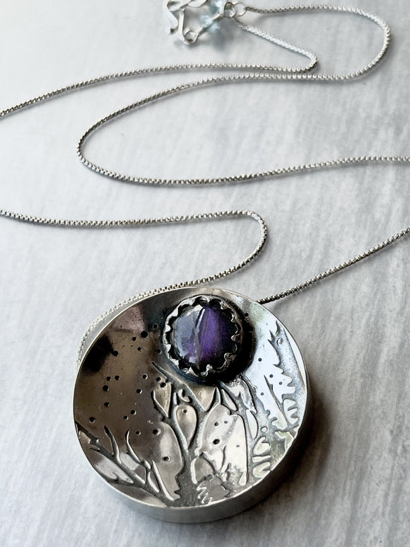 Reserved for Rebecca S. (1 of 3): Purple Labradorite Hollow form Forest Necklace with Maple Leaf Imprint