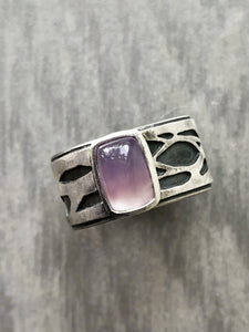 Natural Purple Chalcedony Ring with Layered Branch Band