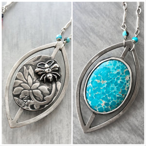 Reversible Leaf Frame Necklace with White Water Turquoise