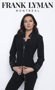 Knit jacket with gunmetal zippers