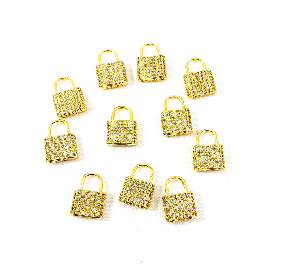 Gold Micro Pave' Lock Charm