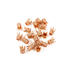 Rose Gold and Clear Crystals Micro Pave' Crowns
