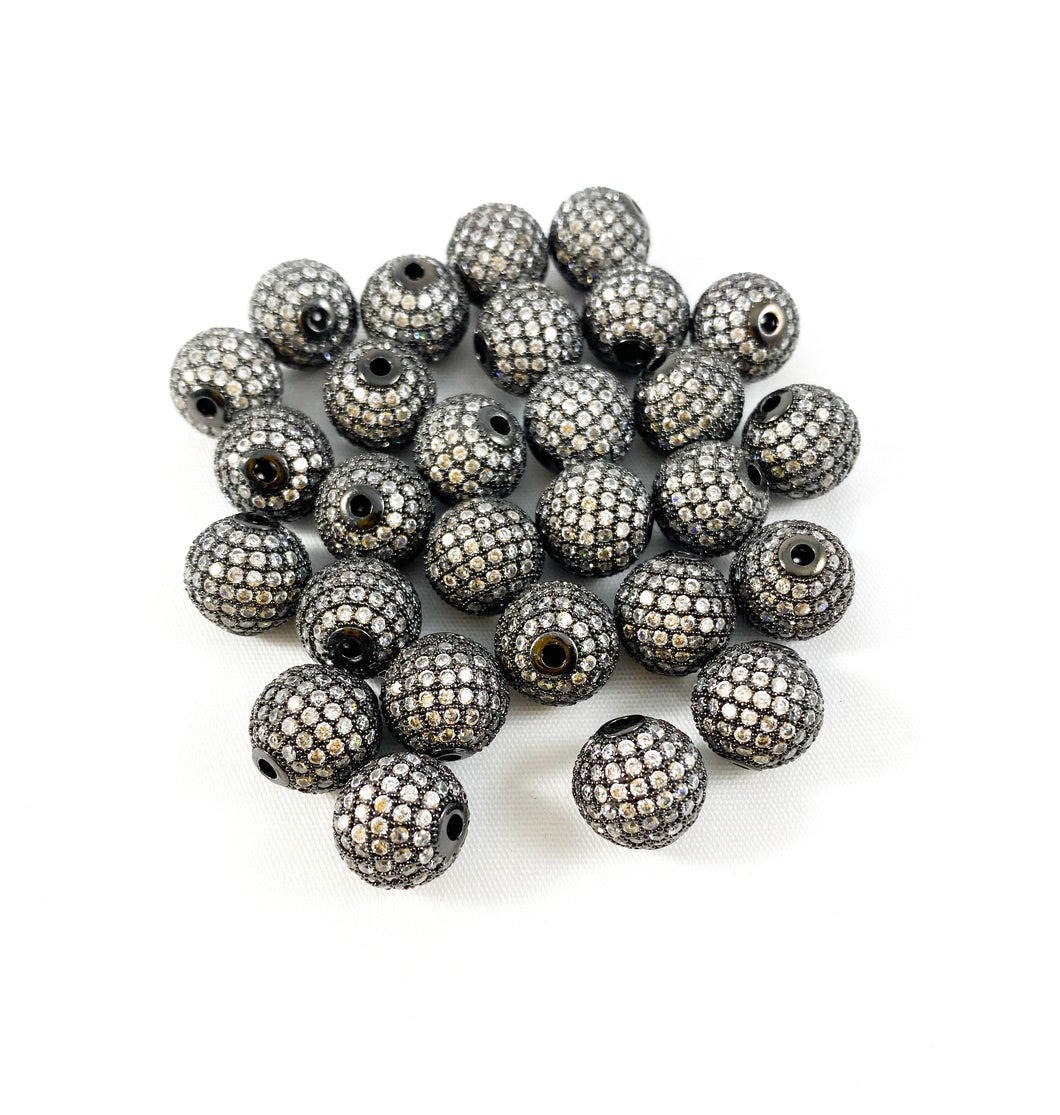 10mm Gunmetal and Clear Micro Pave' Beads