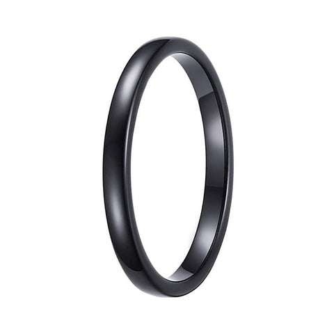 Black Wedding Bands.Womens Black Tungsten Wedding Band Domed Engagement 2mm Ring For Her