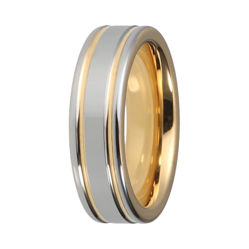 Mens Silver Yellow Gold Tungsten Wedding Band Two Tone Flat