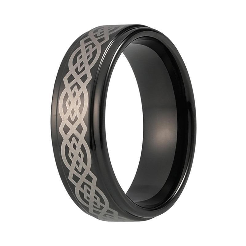 Menu0027s Celtic Black Tungsten Wedding Band   Stepped Edge Ring For Him
