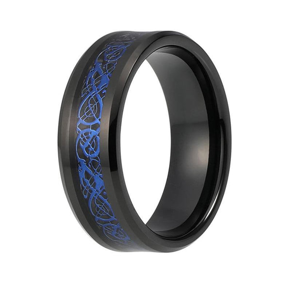 Men S Blue Celtic Dragon Carbon Inlay Black Tungsten Wedding Band
