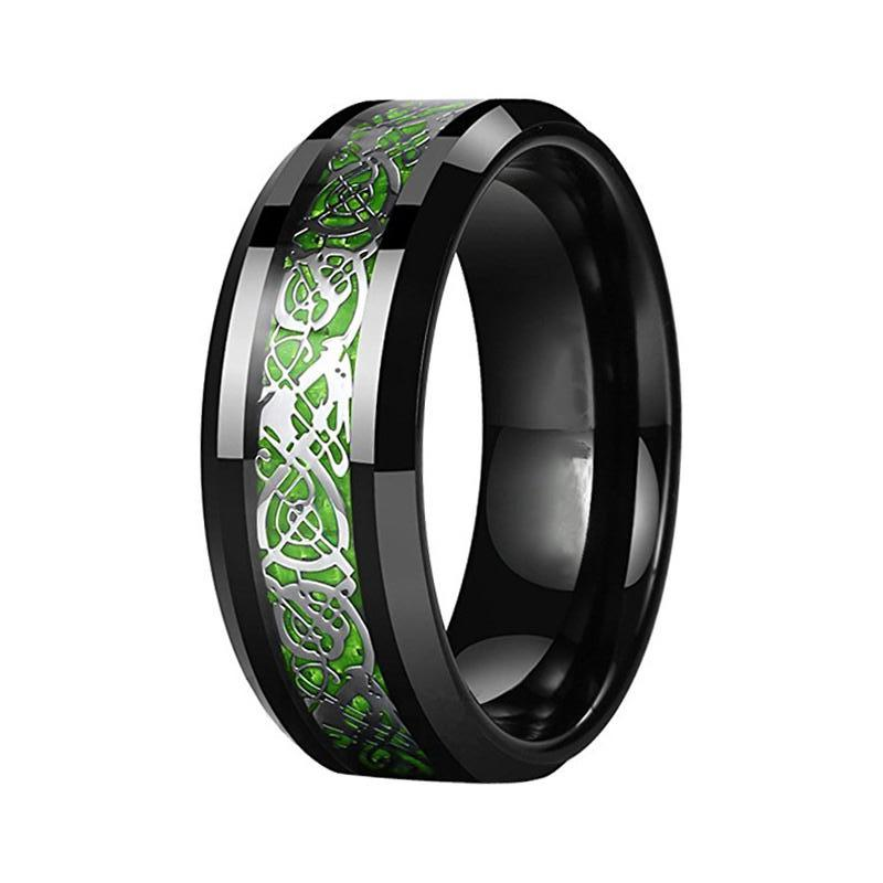 Menu0027s Green Carbon Fiber Celtic Dragon Black Tungsten Wedding Band