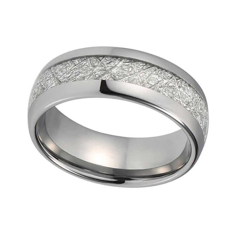 Mens Meteorite Wedding Band Unique Domed Silver Tungsten Ring