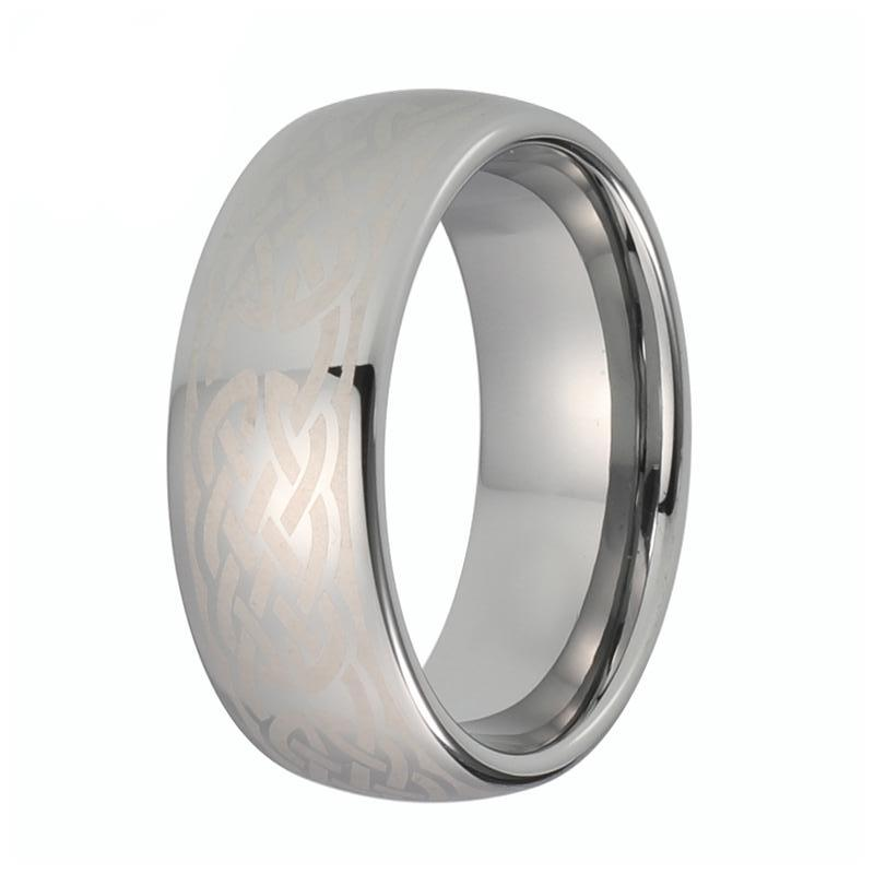 Mens Silver Celtic Tungsten Wedding Band Domed Laser Engraved Ring