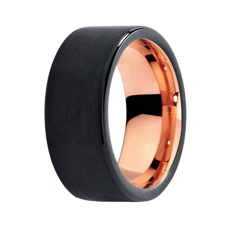 men 39 s black tungsten wedding band rose gold flat unique. Black Bedroom Furniture Sets. Home Design Ideas