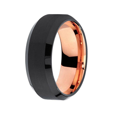 Mens Black Rose Gold Two Tone Tungsten Wedding Band Unique Matte