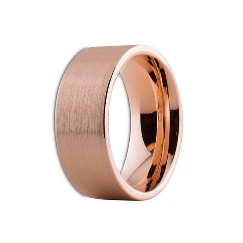 8191c8e35 Men's Rose Gold Plated Tungsten Wedding Band - Flat Matte Ring for Him