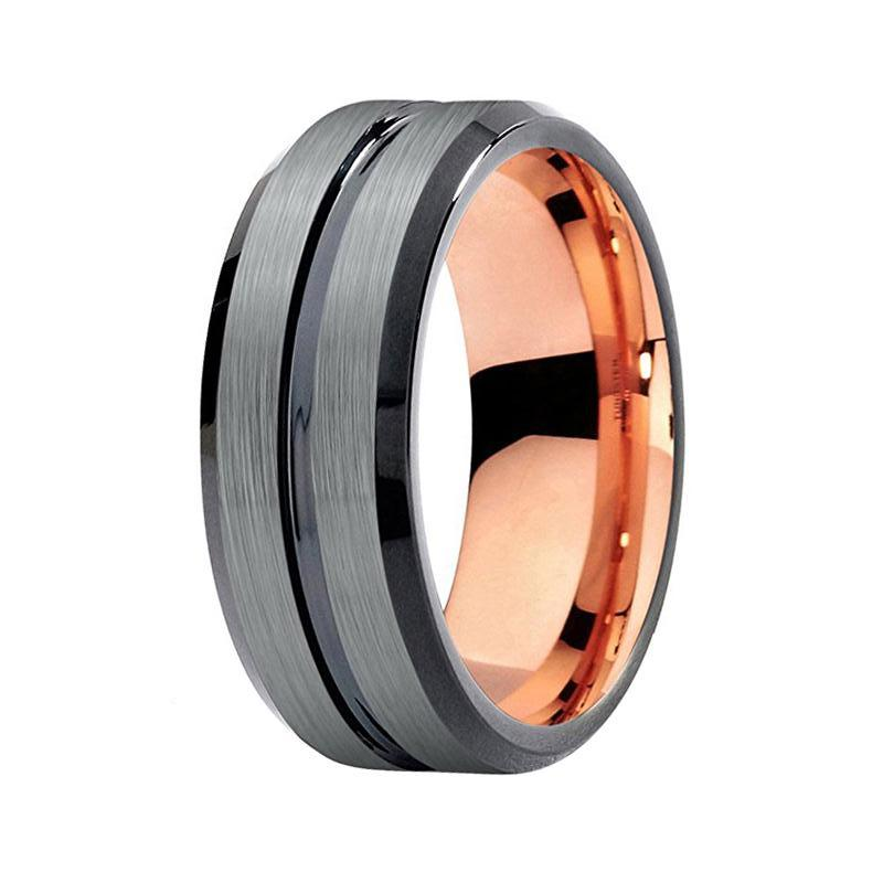 Mens Silver Rose Gold Two Tone Tungsten Wedding Band Grooved Ring