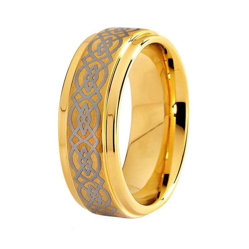 Men S Celtic Yellow Gold Tungsten Wedding Band Unique Ring For Him