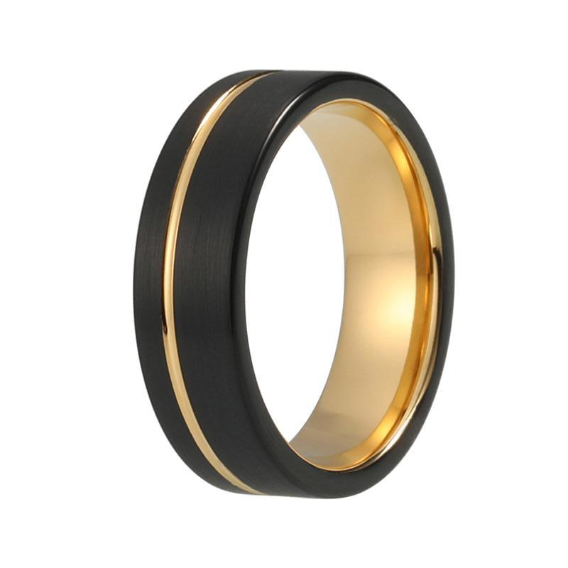 Men S Two Tone Black Wedding Band Yellow Gold Inner Ring Offset