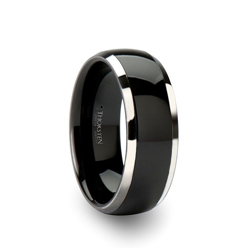valeno domed black ceramic wedding band for men with inlay