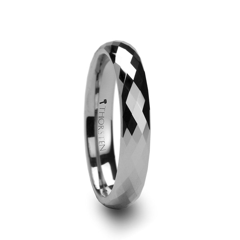 PALMERO Womens Diamond Faceted Tungsten Wedding Band Wedding Bands HQ