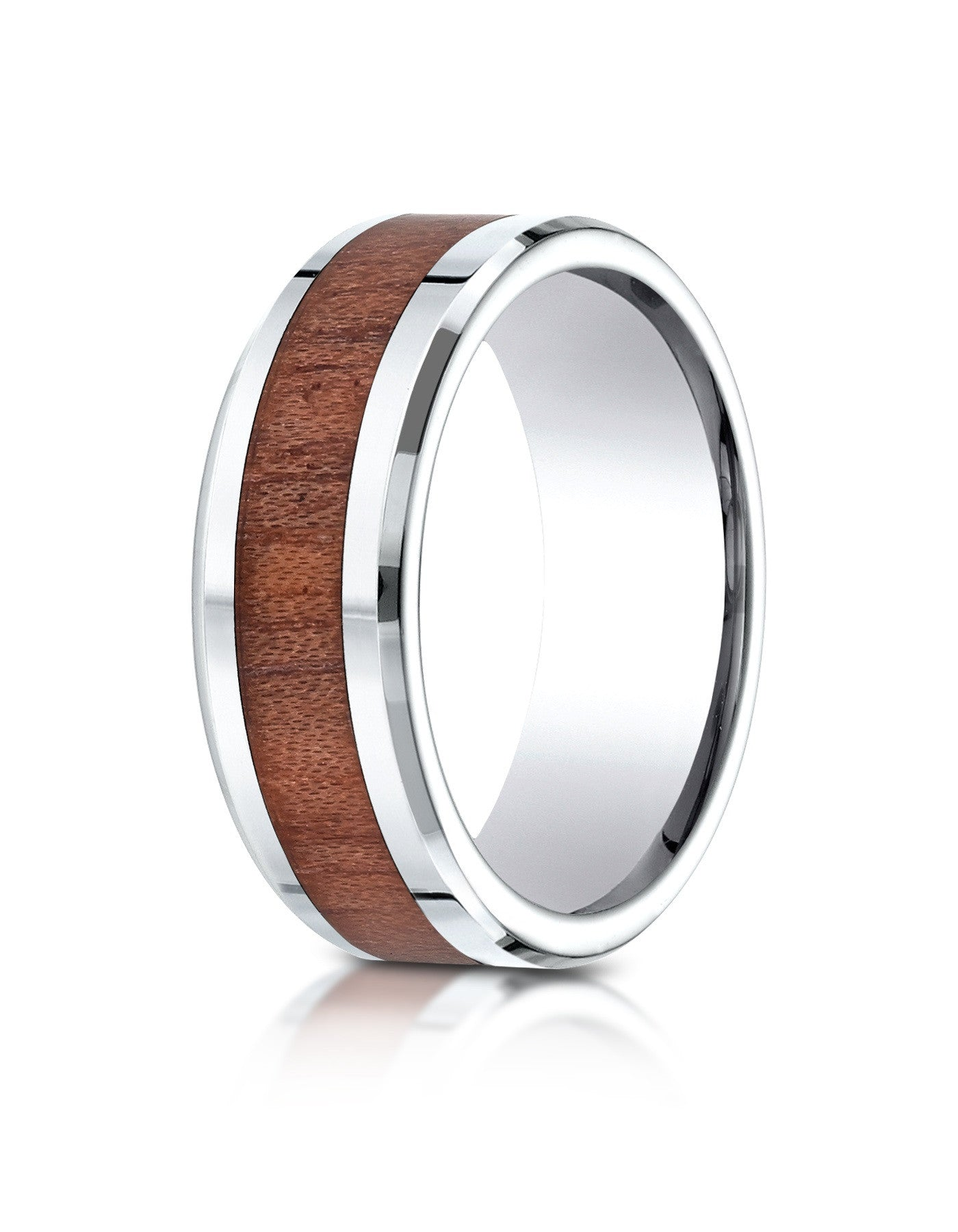 TURIN Mens Cobalt Beveled Rosewood Inlay Cobalt Wedding Band